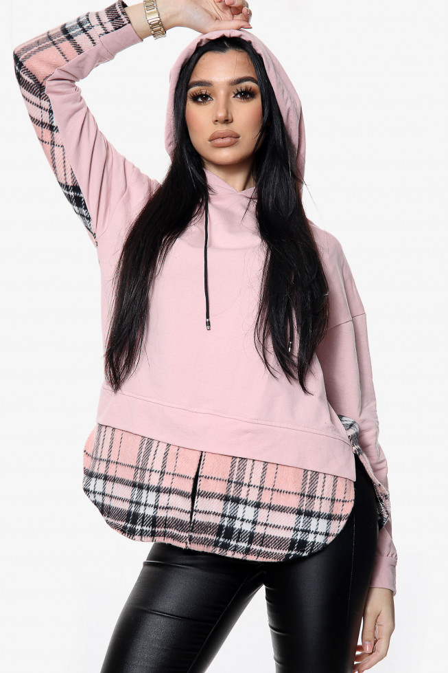 2 in 1 Hoodie with Check Shirt Detail