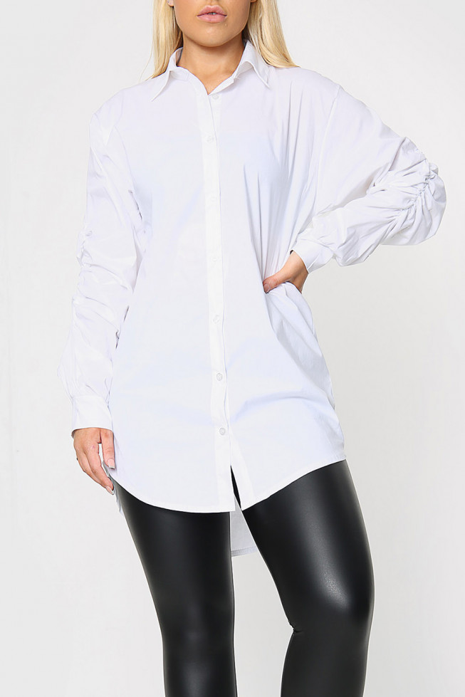 Longline Shirt with Gathered Sleeves