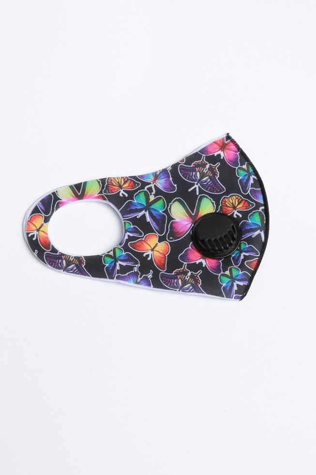 Butterfly Print Face Mask With Valve