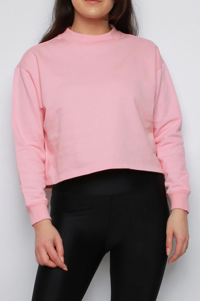 High Neck Oversized Cropped Sweatshirt