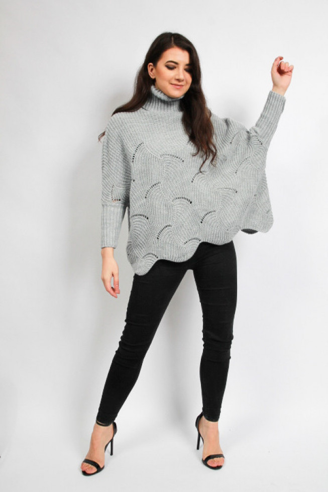 High Neck Oversized Pattern Knitted Longline Jumper
