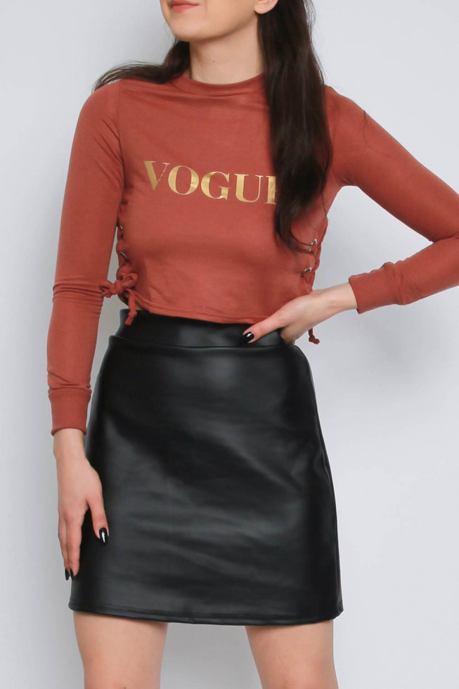 Vogue Slogan Lace & Eyelet Crop Sweatshirt
