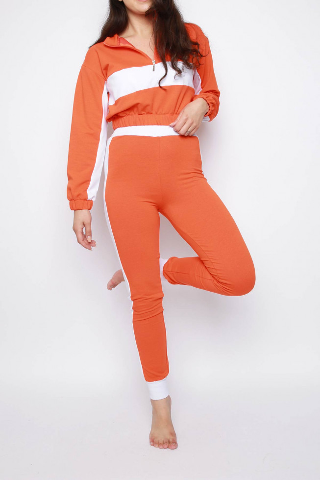 Stripe Zip Cropped Sweatshirt & Jogger Co-ord Lounge Set