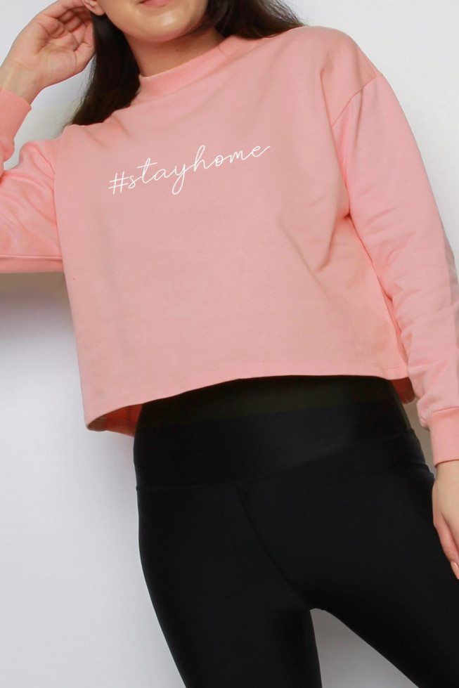 Stay Home Slogan Oversized Cropped Sweatshirt