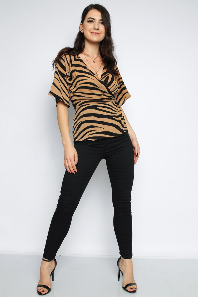 Zebra Pleated Top