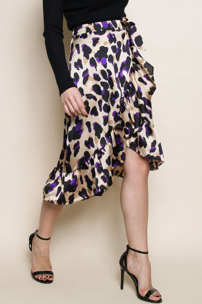 Leopard Satin Wrap Midi Skirt