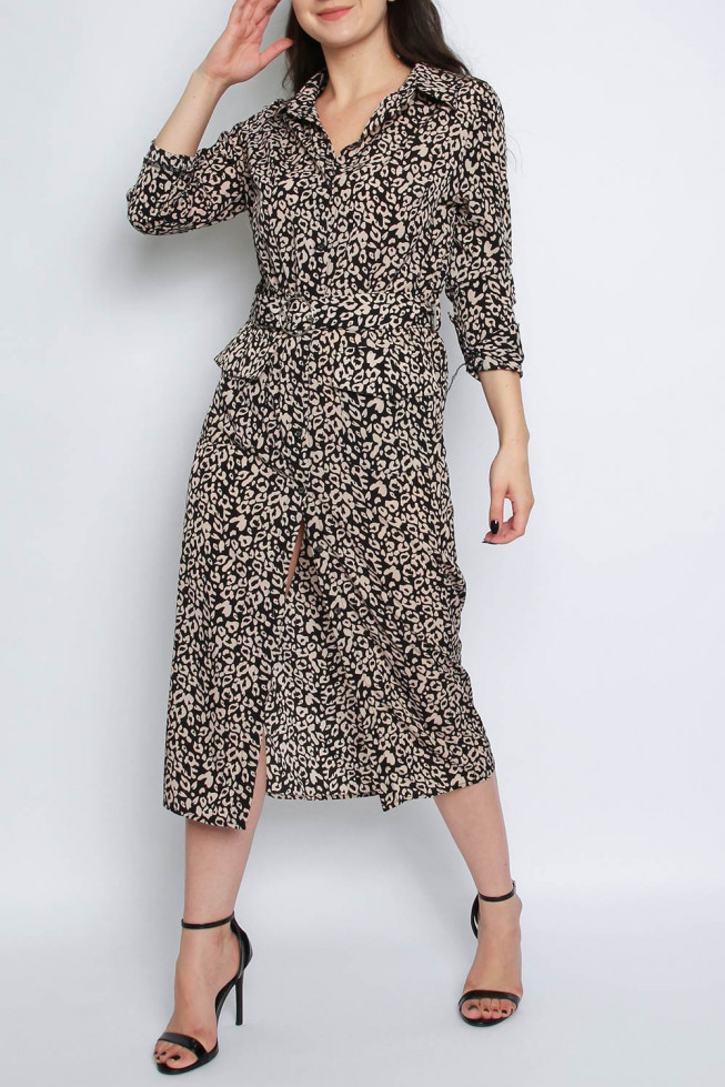 Leopard Midi Shirt Dress with Belt