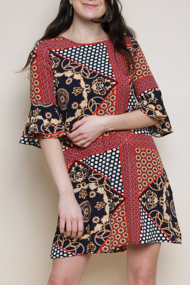 Scarf Print Crepe Bell Sleeves Shift Dress