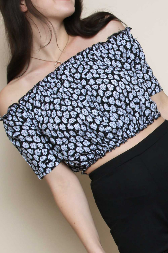Floral Bardot Gypsy Crop Top