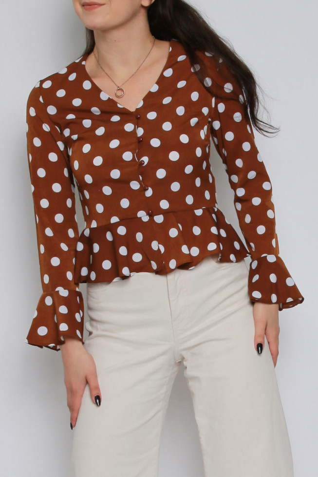 Polka Dot Button Down Peplum Top