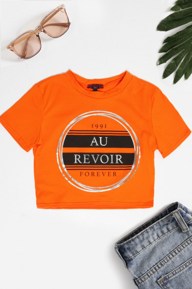 Au Revoir Slogan Crop Top