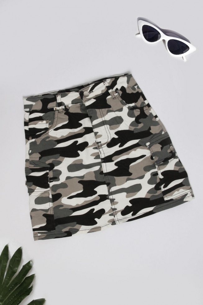 Camo Denim Mini Skirt