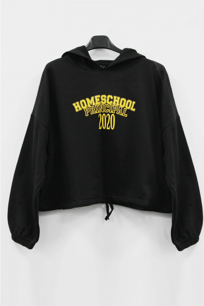 Homeschool Principal 2020 Slogan Oversized Cropped Hoodie