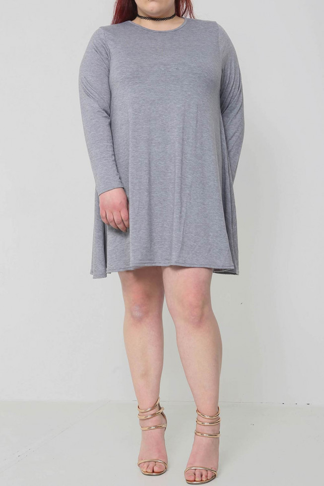 Plus Size Plain Swing Dress