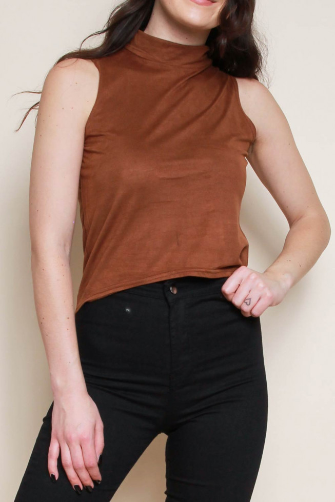 Suedette Dipped Hem Top
