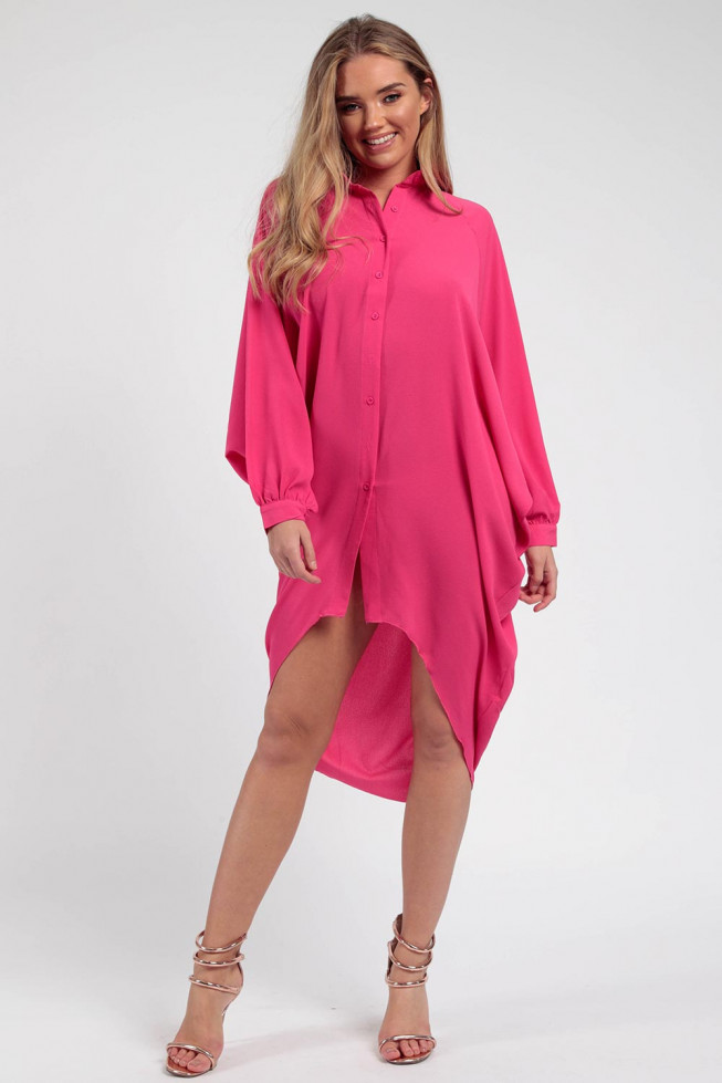 Batwing Crepe Shirt Dress