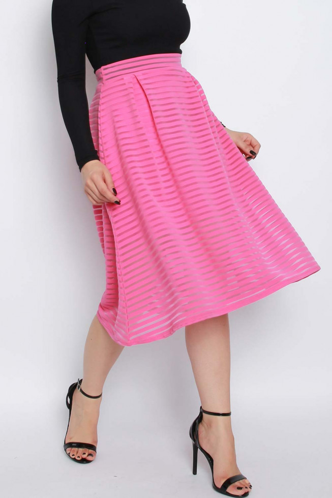Stripe Mesh Midi Skirt