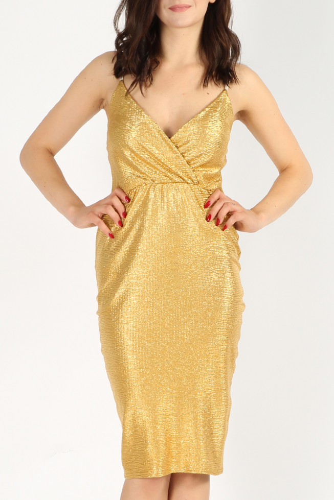 Metallic Wrap Midi Dress