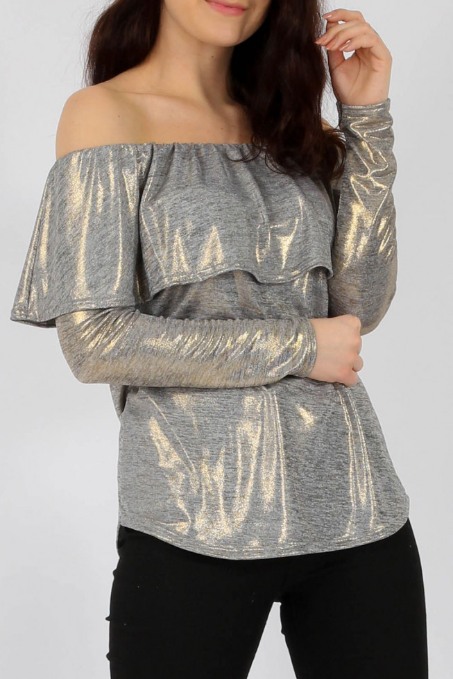 Metallic Bardot Frill Top