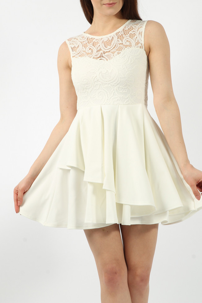 Lace Frill Skater Dress