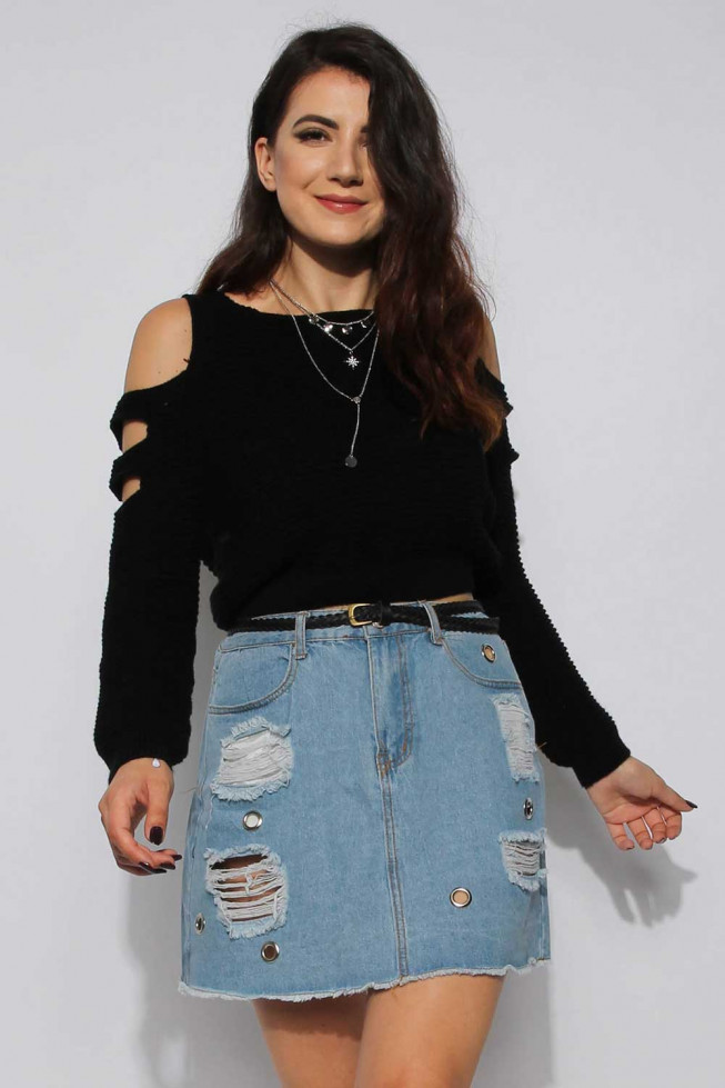 Slash Knitted Crop Jumper