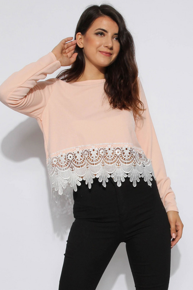 Long Sleeve Lace Trim Top