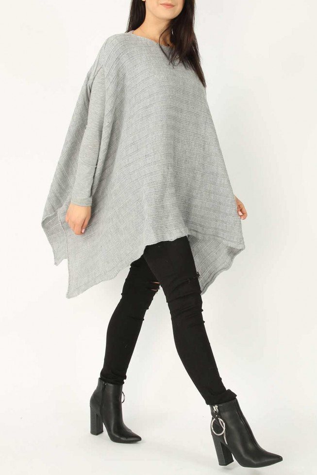 Knitted Ribbed Poncho