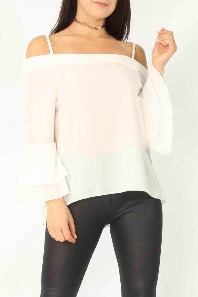 Crepe Cami Frill Sleeve Top