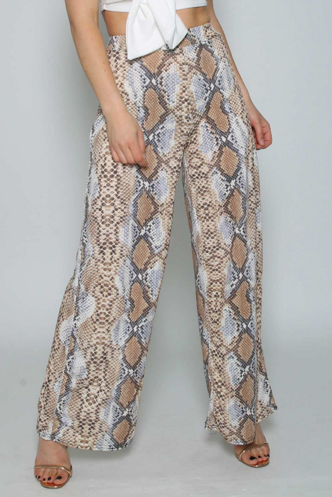 Snakeskin Wide Leg Trousers