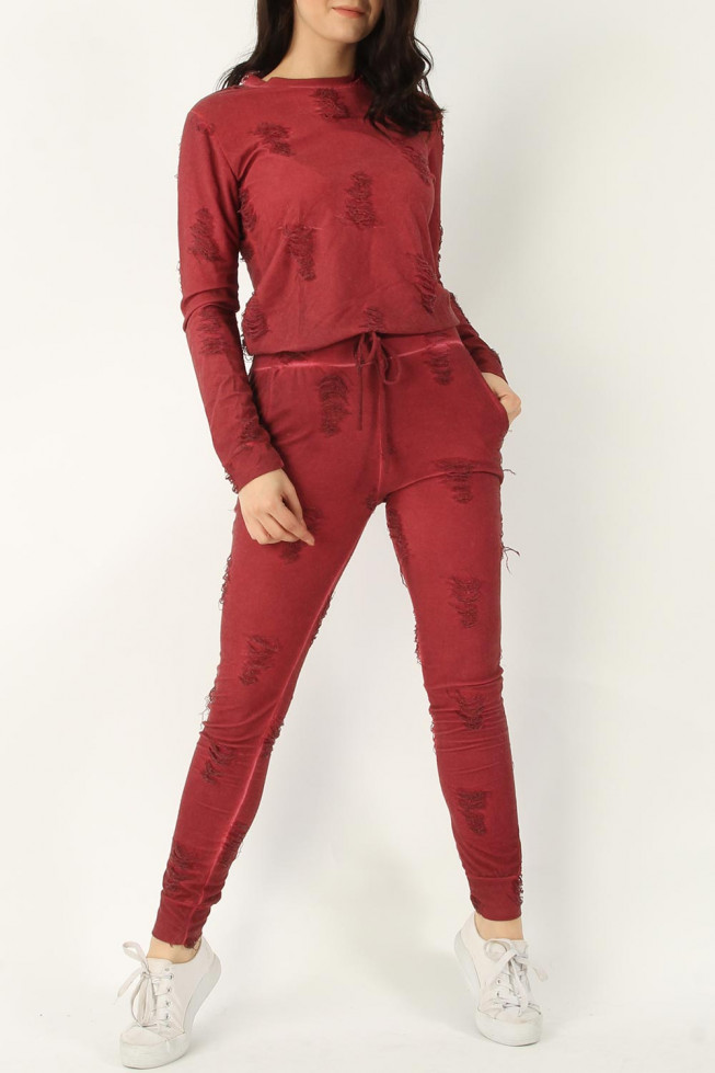 Distressed Top & Jogger Lounge Suit
