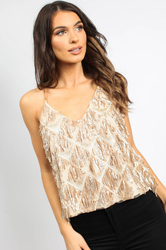 Tassel Chain Sequin Top