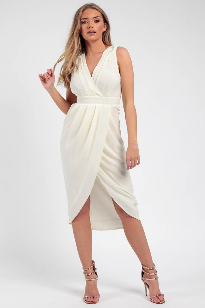 Pleated Wrap Midi Dress
