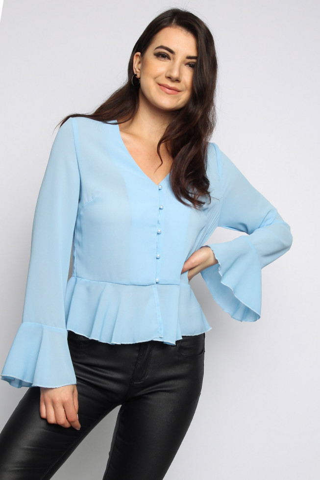 Frill Bell Sleeves Button Peplum Top