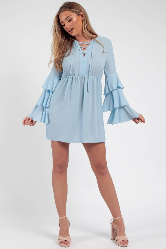 Bell Sleeve Lace & Eyelet Skater Dress