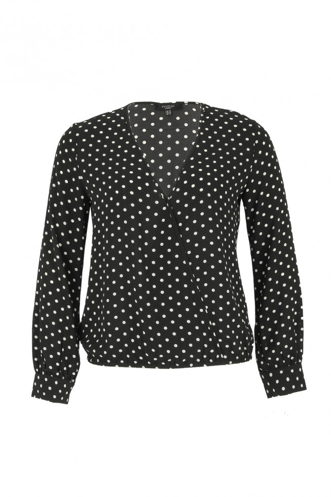Plus Size Wrap Polka Dot Top