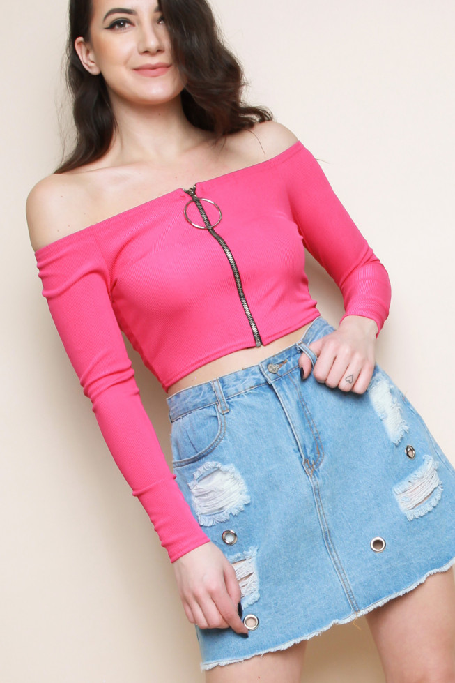Front Zip Bardot Ribbed Long Sleeve Crop Top
