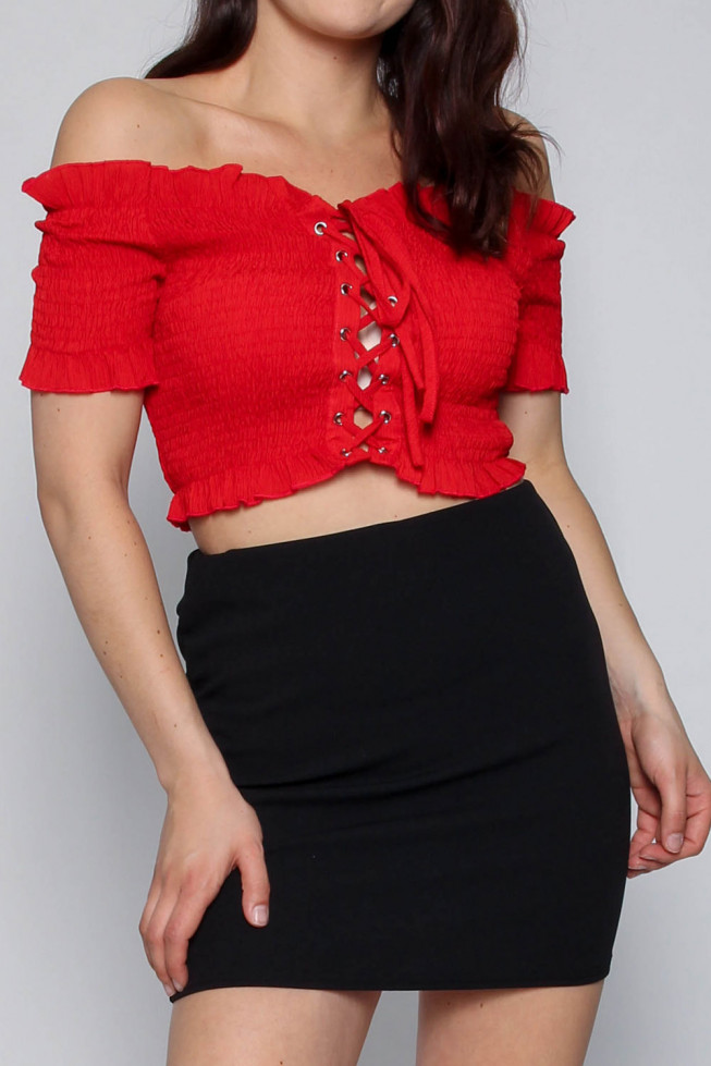 Lace Up Shirred Bardot Crop Top