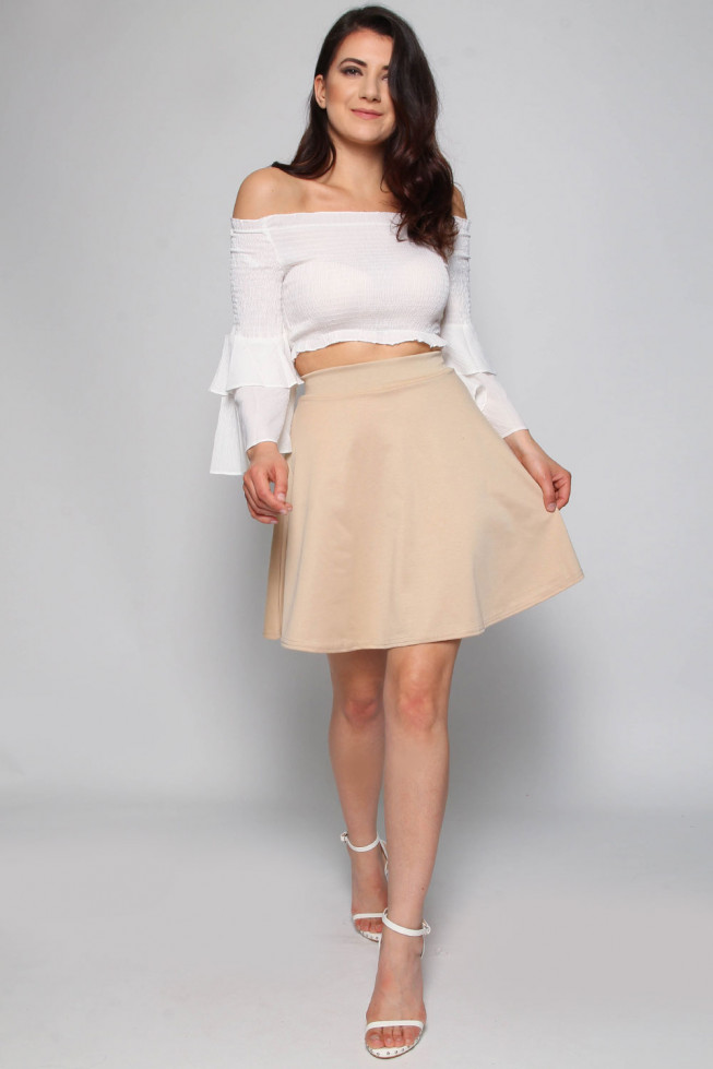 Shirred Bardot Frill Crop Top