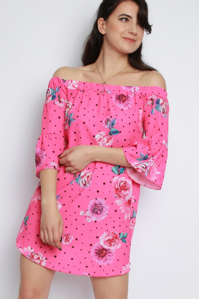 Bardot Floral Polka Dot Dress