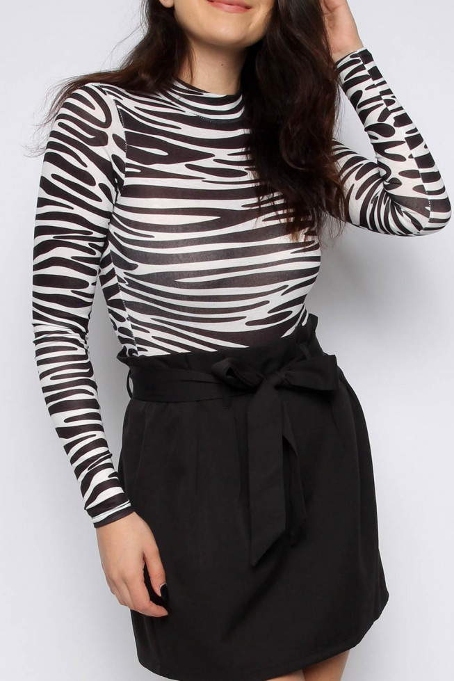 Long Sleeve Zebra Print Bodysuit