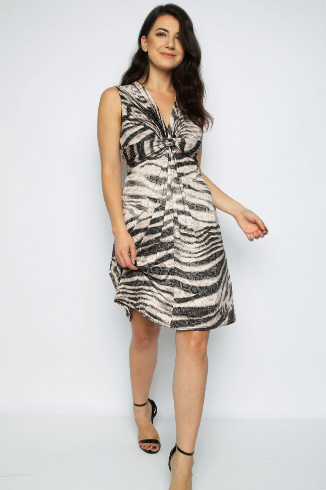 Zebra Print Front Twist Dress