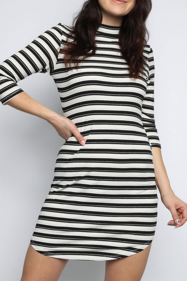 Stripe High Neck Shift Dress