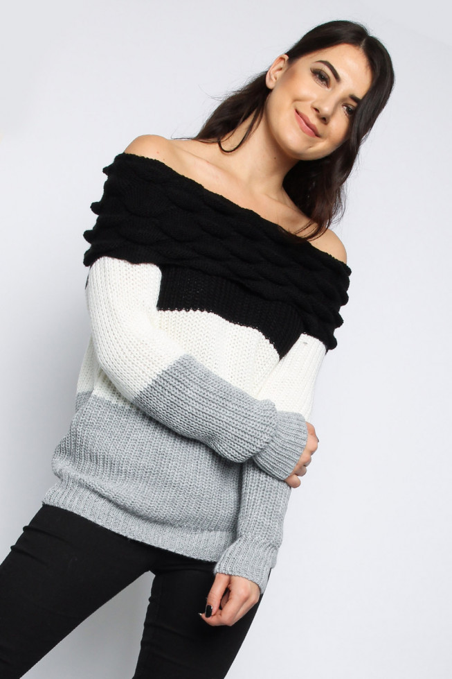 Bobble Off Shoulder Knitted Jumper