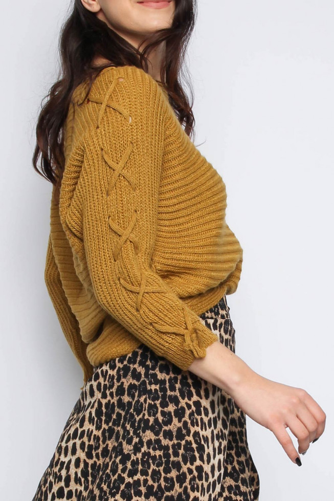 Lace-up Sleeve Knitted Jumper