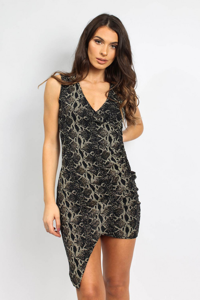 Metallic Snakeskin Asymmetric Midi Dress