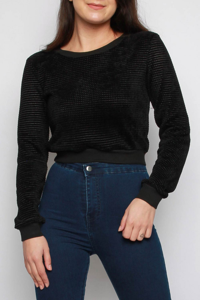 Chenille Knitted Long Sleeve Cropped Top
