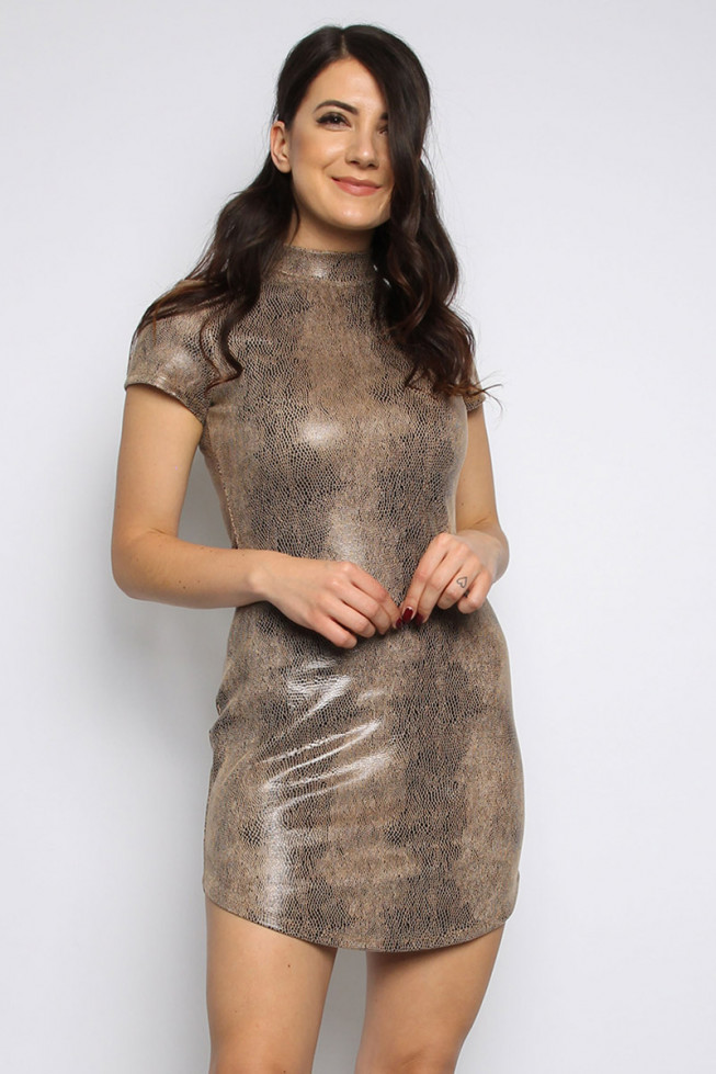 PU Snakeskin Bodycon Dress