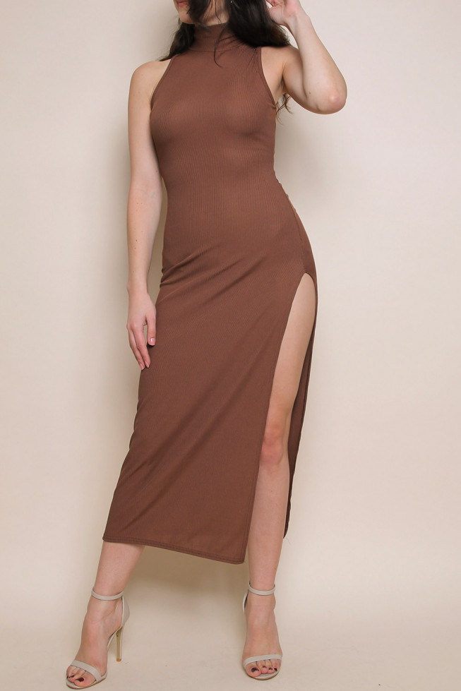 High Neck Sleeveless Ribbed Dress