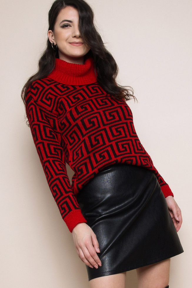 Geometric Roll Neck Knitted Jumper