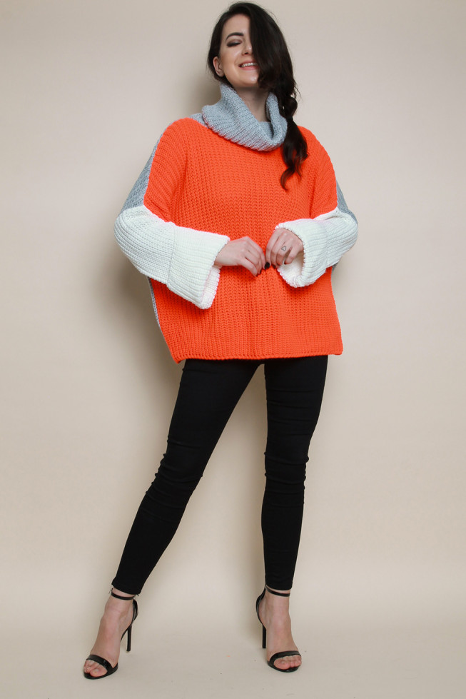 Neon High Neck Colour Block Knitted Jumper